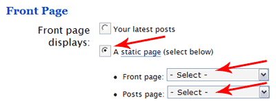 WordPress Static Frontpage options