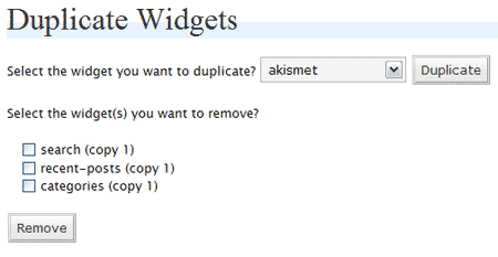 WordPress Duplicate Widgets in action