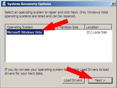 System recovery options, choosing your Operating system