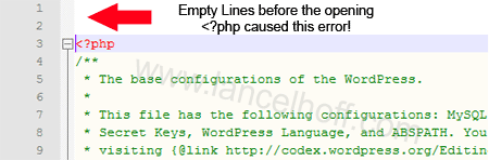 Empty Lines before the opening <?php caused this error