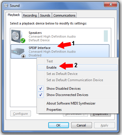 Right Click SPDIF Interface and Select Enable